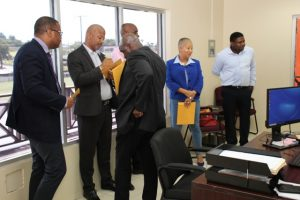 Some members of the Nevis Island Administration Cabinet at the Integrity Commission's office in Charlestown on September 20, 2019, preparing to file their declarations of assets on September 20, 2019