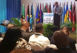 Hon. Spencer Brand, Minister of Water Services in the Nevis Island Administration delivering his address at the opening ceremony of the Caribbean Water and Wastewater Association (CWWA) Conference at the St. Kitts Marriott Resort on October 14, 2019.