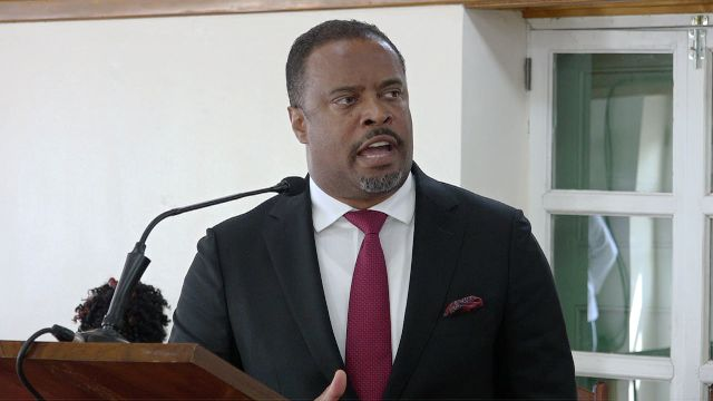 Hon. Mark Brantley, Premier of Nevis and Minister of Tourism, in the Nevis island Administration at a sitting of the Nevis Island Assembly in Chambers at Hamilton House on October 08, 2019