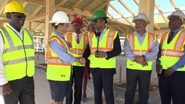 Mr. Gonzalo Gëlman Ros, General Manager of the Four Seasons Resort, Nevis; Hon. Mark Brantley, Premier of Nevis; and other members of the Nevis Island Administration Cabinet visiting the resort on September 30, 2019