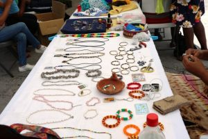 Hand crafted jewellery on display at an exhibition staged by the Mental Health Unit in the Ministry of Health on October 11, 2019, at the Nevis Island Administration grounds in Charlestown, in observance of World Mental Health Day 2019