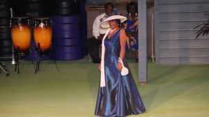 Josephine Maynard on stage in the Eveningwear segment at the Miss Nevis Senior Pageant hosted by the Ministry of Social Development through the Department of Social Services, Senior Citizens Division at the Cultural Village on October 26, 2019