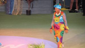 Govanie Butler on stage in the Eveningwear segment at the Miss Nevis Senior Pageant hosted by the Ministry of Social Development through the Department of Social Services, Senior Citizens Division at the Cultural Village on October 26, 2019