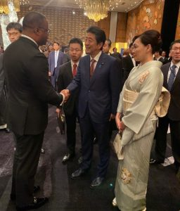 Hon. Mark Brantley, Minister of Foreign Affairs with Prime Minister of Japan Shinzō Abe and his wife Akie Abe in Japan