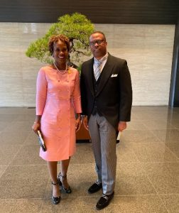 Hon. Mark Brantley, Minister of Foreign Affairs and Her Excellency Jasmine E. Huggins, St. Kitts and Nevis' non-resident Ambassador to Japan in Japan
