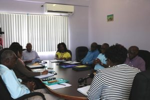 Members of the new Board of Directors of the Nevis Solid Waste Management Authority at the installation ceremony October 14, 2019, at the Ministry of Communication's conference room at the Nevis Island Administration's office in Charlestown.
