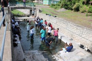 Delegates of the Caribbean Water and Wastewater Association conference in St. Kitts taking a dip in the thermal Bath Stream during a tour of Nevis on October 18, 2019