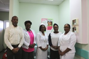 Hon. Hazel Brandy Williams, Junior Minister of Health on Nevis (second from left) with senior staff at the Alexandra Hospital while commissioning a Direct Radiography system at the X-Ray Unit. Mr. Gary Pemberton, Hospital Administrator (extreme left); Matron Aldris Pemberton (third from left); Ms. Shinnelle Mills Assistant Hospital Administrator (second from right); and Mrs. Jessica Scarborough, Assistant Matron (extreme right)