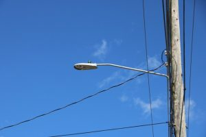 One of the LED lights installed at the Long Point Road in the Nevis Electricity Company Limited's Street Lighting Replacement Project