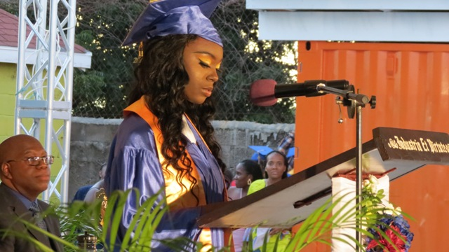 Ms. Shanya Taylor, valedictorian for the Caribbean Secondary Education Certificate (CSEC) in the Charlestown Secondary School's (CSS) Graduating Class of 2019 delivering here valedictory speech during the Charlestown Secondary School and Nevis Sixth Form College Graduation and Prize-giving Ceremony at the Nevis Cultural Village on November 13, 2019