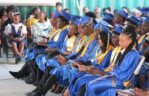 A section of graduands from the Charlestown Secondary School at the Charlestown Secondary School and Nevis Sixth Form College Graduation and Prize-giving Ceremony at the Nevis Cultural Village on November 13, 2019