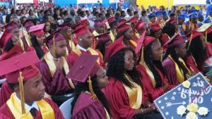 A section of graduands from the Nevis Sixth Form College at the Charlestown Secondary School and Nevis Sixth Form College Graduation and Prize-giving Ceremony at the Nevis Cultural Village on November 13, 2019