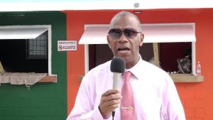 Hon. Eric Evelyn, Minister of Social Development in the Nevis Island Administration and Area Representative for the St. George's Parish visiting the new multi-purpose facility at Market Shop in Gingerland on November 25, 2019