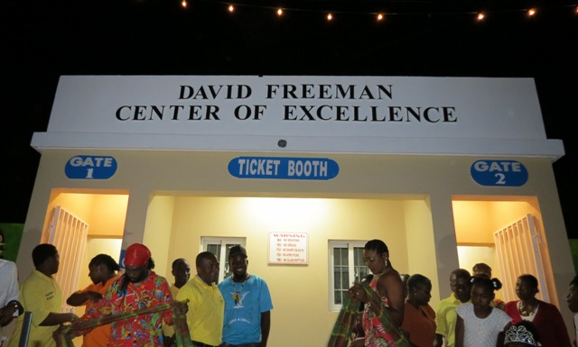 Moments after family members unveiled the David Freeman Centre of Excellence at Market Shop in Gingerland at the official opening and naming ceremony on November 28, 2019