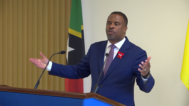 Hon. Mark Brantley, Premier of Nevis, at his monthly Press Conference in the Nevis Island Administration's Cabinet Room at Pinney's Estate on November 27, 2019