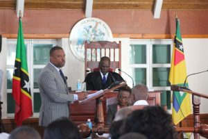 Hon. Mark Brantley, Premier of Nevis and Minister of Finance in the Nevis Island Administration, presenting the 2020 Budget Address at a sitting of the Nevis Island Assembly on December 03, 2019