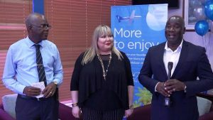 (L-r) Mr. Oral Brandy, General Manager of the Nevis Air and Sea Ports Authority, Ms. Katya Ruiz, Regional Marketing Director for Cape Air and Hon. Alexis Jeffers, Deputy Premier of Nevis at the VIP lounge at the Vance W. Amory International Airport on December 12, 2019, as he welcomes Cape Air on its return to Nevis