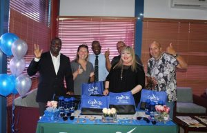A team from Cape Air led by Ms. Katya Ruiz, Regional Marketing Director for the airline (second from right) celebrate the airline's return to Nevis with Hon. Alexis Jeffers, Deputy Premier of Nevis (extreme left) and Mr. Oral Brandy, General Manager of the Nevis Air and Sea Ports Authority (third from left) at the Vance W. Amory International Airport VIP lounge on December 12, 2019