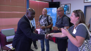 Hon. Alexis Jeffers, Deputy Premier of Nevis welcomes a delegation from Cape Air at the Vance W. Amory International Airport VIP lounge on December 12, 2019, celebrating the airline's return to Nevis