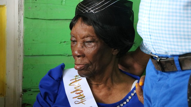 "Ms. Eliza ""Liza Liburd Jeffers"" Flanders of Hamilton, Nevis' newest centenarian celebrating her 100th birthday at her home in Hamilton on November 30, 2019"