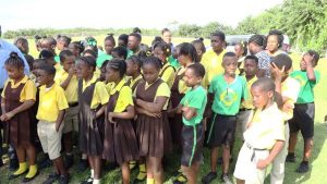 Some students of the St. Thomas' School, at the launch of a tree planting programme by the Ministry and Department of Agriculture on Nevis on January 29, 2020