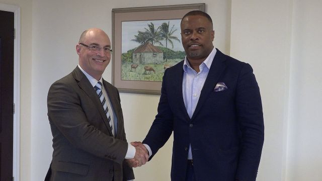 Hon. Mark Brantley, Foreign Affairs Minister in St. Kitts and Nevis, welcomes His Excellency Bruce Lendon, Australia's new ambassador to St. Kitts and Nevis at his Pinney's Estate office on January 29, 2020