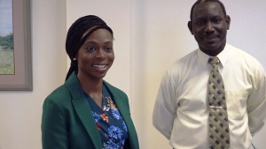 Ms. Jadine Yarde, the new Chief Executive Officer of the Nevis Tourism Authority and Mr. John Hanley, Permanent Secretary in the Ministry of Tourism and member of the Nevis Tourism Authority Board,at the office of Hon. Mark Brantley, Premier of Nevis, on January 28, 2020