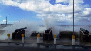High seas overlapping the Charlestown sea wall on January 20, 2020