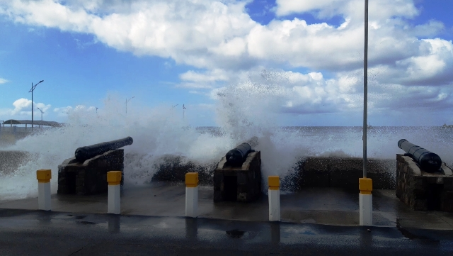 High seas overlapping the Charlestown sea wall on January 20, 2020