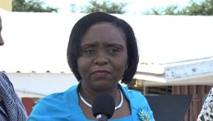 Mrs Avril Elliott, Education Officer in the Department of Education with responsibility for the St. Thomas' Primary School, delivering remarks on January 29, 2020, at the launch of the Ministry and Department of Agriculture's project to plant 10,000 trees throughout Nevis during 2020