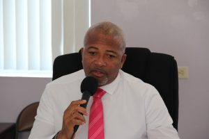 Hon. Spencer Brand, Minister of Physical Planning and Environment at a meeting at the Nevis Island Administration's conference room in Charlestown on January 14, 2020