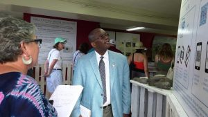 Dr. Everson Hull, St. Kitts and Nevis' Ambassador and Permanent Representative to the Organisation of American States in Washington, D.C. viewing displays at the Alexander Hamilton Museum in Charlestown with Ms. Lorna Abungu, Museum Consultant of the Nevis Historical and Conservation Society on January 07, 2020
