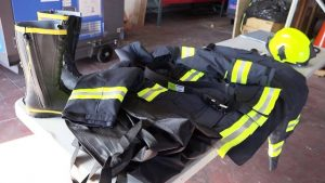 A number of protective fire suits at the Nevis Disaster Management Department's warehouse at Long Point on January 16, 2020, from a donation made by the government and people of Japan, to enhance disaster preparedness and response capacity on Nevis