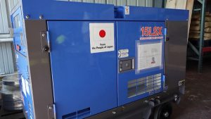 One of the generator sets donated by the government and people of Japan to enhance disaster preparedness and response capacity on Nevis, siting at the Nevis Disaster Management Department at Long Point on January 16, 2020