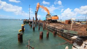 Construction work on the Charlestown Port tender pier on December 02, 2020, before work was suspended (file photo)