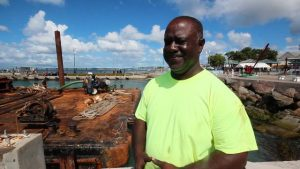 Mr. Regiwell Francis, Chief Executive Officer of St. Kitts Marine Works; contractors for the tender pier refurbishment project on site on January 08, 2020 Photo caption: Concrete caps made in Nevis for the tender pier refurbishment project at the Charlestown Port