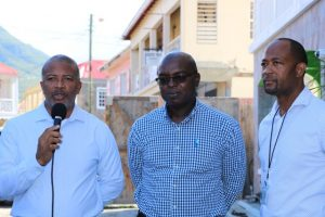 (L-r) Hon. Spencer Brand, Minister of Communication and Works in the Nevis Island Administration; Dr. Ernie Stapleton, Permanent Secretary in the ministry; and Mr. Raoul Pemberton, Director of the Public Works Department, on site at Lower Happy Hill Drive, where refurbishment work is about to commence on January 24, 2020
