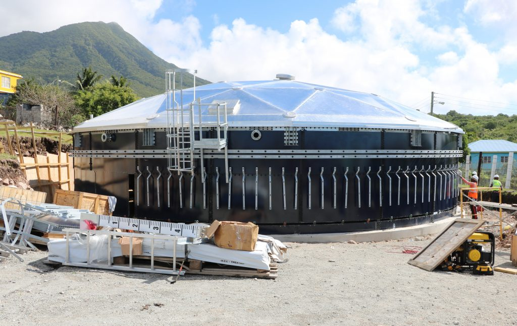 The new 400,000 gallon water tank under construction at Hamilton on January 16, 2020, as part of the Nevis Water Department's Water Enhancement Project