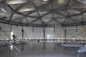 The interior of the 400,000 water tank under construction at the Nevis Water Department's Hamilton site by workmen of contractors of Florida Aqua Store on January 16, 2020