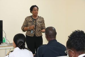 Dr. Judy Nisbett, Medical Officer of Health in the Ministry of Health on Nevis, meeting with personnel from the Nevis Air and Sea Ports Authority at the Vance W. Amory International Airport's conference room on January 27, 2020, to discuss the issue of the emerging 2019 coronavirus in China and other parts of the world