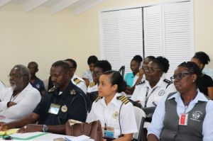 A section of the persons from the Nevis Air and Sea Ports Authority meeting with Dr. Judy Nisbett, Medical Officer of Health, at the Vance W. Amory International Airport's conference room on January 27, 2020, to discuss the issue of the emerging 2019 coronavirus in China and other parts of the world