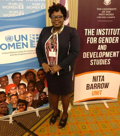 Hon. Hazel Brandy, Junior Minister responsible for Gender Affairs on Nevis at a three-day gender-based regional forum on February 10, 2020, at the Hilton Hotel in Barbados