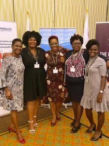 Hon. Hazel Brandy-Williams (second from right), Junior Minister responsible for Gender Affairs on Nevis with other delegates from St. Kitts, Jamaica, Jamaica and Trinidad and Tobago, at a three-day gender-based regional forum on February 10, 2020, at the Hilton Hotel in Barbados