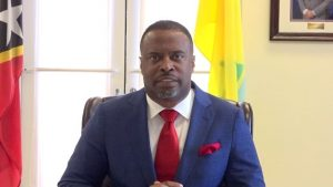Hon. Mark Brantley, Premier of Nevis, at his Pinney's Estate office on February 14, 2020, making the announcement of the date set for the by-election for Constituency no.5, in the Nevis Island Assembly, St. Thomas' Parish