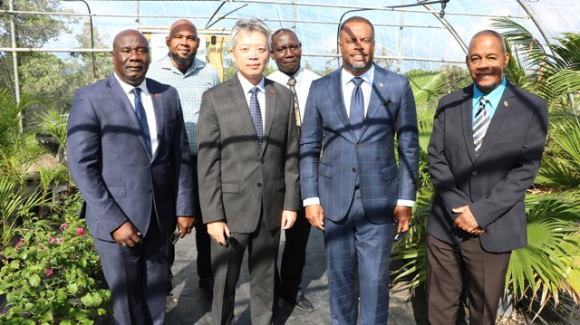 Front row (left to right): Hon. Alexis Jeffers, Deputy Premier and Minister of Agriculture; His Excellency Tom Lee, the Republic of China (Taiwan) Resident Ambassador to St. Kitts and Nevis; Hon. Mark Brantley, Premier of Nevis; Hon. Eric Evelyn, Minister of Social Development, (back row): Mr. Huey Sargeant, Permanent Secretary in the Ministry of Agriculture; and Mr. John Hanley, Permanent Secretary in the Ministry of Tourism during a visit to the nursery at Cades Bay with propagated plants for landscaping at the St. Kitts and Nevis Pinney's Beach Park Project on February 13, 2020