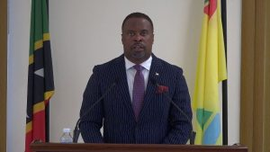 Hon. Mark Brantley, Premier of Nevis delivering a statement on COVID-19 from his office at Pinney's Estate on March 26, 2020