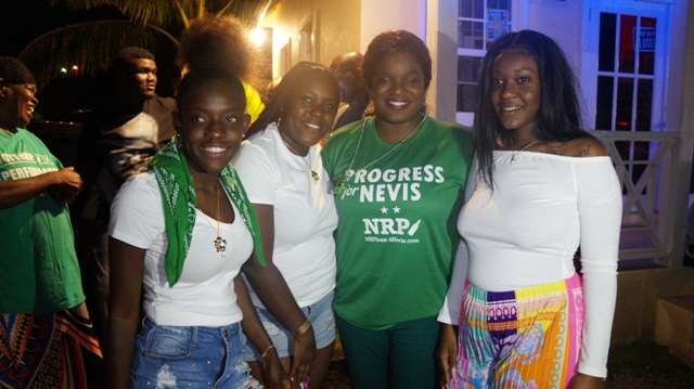 Winner of the St. Thomas' Lowlands Nevis 5 by-election Mrs. Cleone Stapleton Simmonds of the Nevis Reformation Party celebrating her victory with family members at the party headquarters along the Island Main Road at Nelson Spring on March 05, 2020