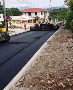 Asphalting work on a section of the Craddock Road Rehabilitation Project on March 13, 2020