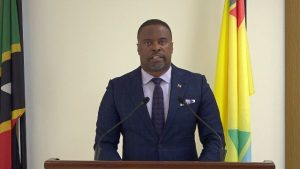 Hon. Mark Brantley, Premier of Nevis, Senior Minister of Health and Minister of Finance delivering an address on Covid-19 at the Nevis Island Administration's Cabinet Room on March 16, 2020