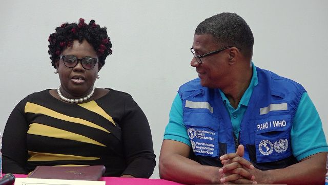 (L-r) Hon. Hazel Brandy-Williams, Junior Minister of Health in the Nevis Island Administration, and Dr. Rufus Ewing Pan American Health Organisation/World Health Organisation Advisor, Health Systems and Services for Barbados and the Eastern Caribbean at a training session for Ministry of Health staff, held at the Gender Affairs Division conference room on March 20, 2020